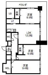 北海道札幌市中央区南八条西4丁目の賃貸マンションの間取り