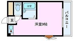 セジュールつるみ 3階ワンルームの間取り