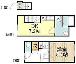 サンコート小金井本町1号館 2階1DKの間取り