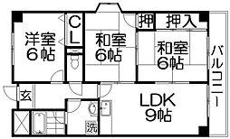 マンショングランメール[5階]の間取り