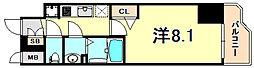 JR東海道・山陽本線 神戸駅 徒歩4分の賃貸マンション 11階1Kの間取り