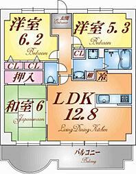ディオフェルティ神戸壱番館[13階]の間取り