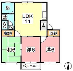 ファミーユ平野 A[102号室]の間取り