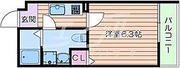 Osaka Metro谷町線 千林大宮駅 徒歩5分の賃貸マンション 4階1Kの間取り