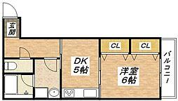 大阪府大阪市平野区加美南1丁目の賃貸マンションの間取り