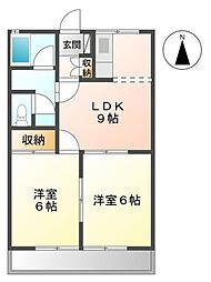 愛知県豊橋市内張町の賃貸アパートの間取り