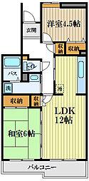 コーポレート小金井梶野通り 1階2LDKの間取り