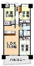 モントーレ福間シティ プレザーント・ドゥ・シャトー[620号室]の間取り