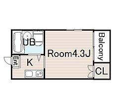 Collection城北I 4階ワンルームの間取り