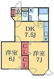 京成本線 京成臼井駅 バス16分 健康管理センター下車 徒歩2分の賃貸アパート 1階2DKの間取り