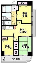 ISサンハウス 2階3LDKの間取り