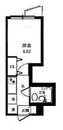 八景舎 東中野 2階1Kの間取り