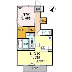 愛知県豊橋市牟呂町字松島東の賃貸アパートの間取り