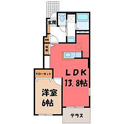 栃木県下都賀郡壬生町元町の賃貸アパートの間取り