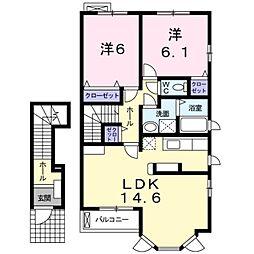 神奈川県伊勢原市高森3丁目の賃貸アパートの間取り