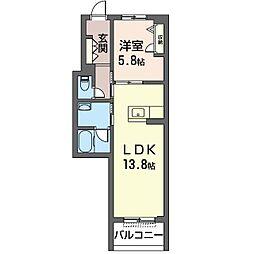 ハリアーナ鎌倉 3階1LDKの間取り
