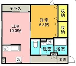 ラ・フォリア成城 1階1LDKの間取り