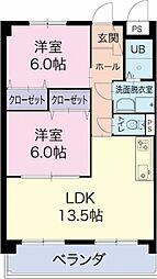 愛知県北名古屋市鹿田の賃貸マンションの間取り