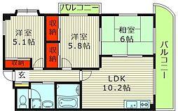 インディペンデンスハイツ 2階3LDKの間取り