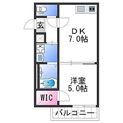 フジパレス田中町III番館 3階1DKの間取り