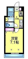 JR総武線 東船橋駅 徒歩14分の賃貸マンション 2階1Kの間取り