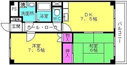 シャトー神川[401号室]の間取り