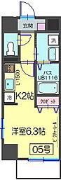 レイラインステージ横濱[705号室]の間取り