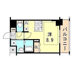 JR東海道・山陽本線 灘駅 徒歩15分の賃貸マンション 1階ワンルームの間取り
