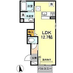 愛知環状鉄道 大門駅 徒歩17分の賃貸アパート 1階ワンルームの間取り