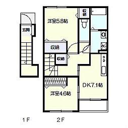フレーヴ カネヨシB棟[2階]の間取り