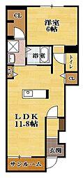 サクラ平II 1階1LDKの間取り
