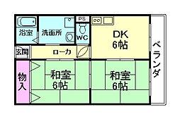 大阪府池田市桃園1丁目の賃貸マンションの間取り