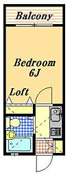 ローズアパートF25番館B[2階]の間取り