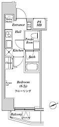 ニューガイアリルーム芝No.28 9階1Kの間取り