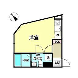 西武新宿線 沼袋駅 徒歩8分の賃貸マンション 4階ワンルームの間取り