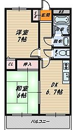 大阪府大阪市城東区関目4丁目の賃貸マンションの間取り