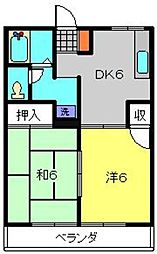 サンハイム富士見[2B号室]の間取り