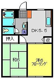 神奈川県横浜市港南区笹下3丁目の賃貸アパートの間取り