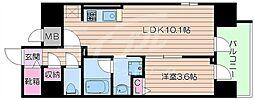 JR東海道・山陽本線 岸辺駅 徒歩5分の賃貸マンション 9階1LDKの間取り