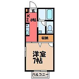 栃木県小山市犬塚6丁目の賃貸アパートの間取り
