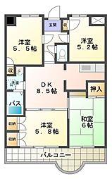 愛知県岡崎市八帖北町の賃貸マンションの間取り