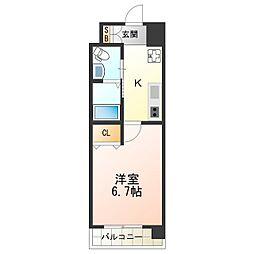 Marks西田辺 7階1Kの間取り