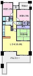 シティパーク北野田[3階]の間取り