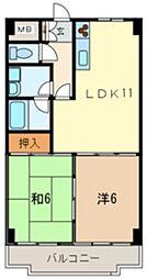 ラーバンライブ・武蔵浦和 6階2LDKの間取り