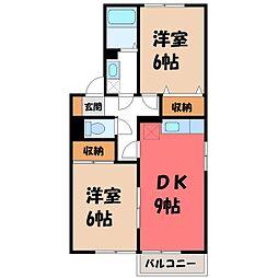 栃木県下野市祇園4丁目の賃貸アパートの間取り