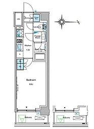 ルフォンプログレ糀谷 5階1Kの間取り