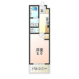 ルミエール阪神尼崎 3階1Kの間取り