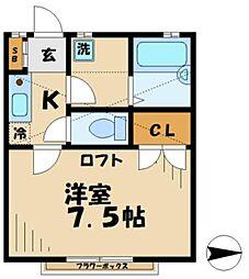 東京都多摩市諏訪1丁目の賃貸アパートの間取り