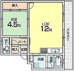 香里ニューハイツ[1階]の間取り