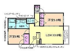 大阪府池田市荘園1丁目の賃貸アパートの間取り